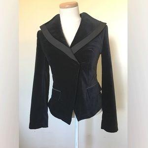 William Rast Black Velvet Tuxedo Jacket (M)
